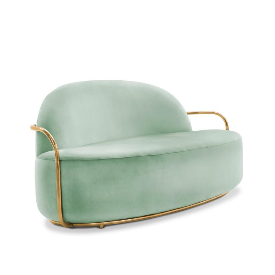 Minimalistyczna sofa Orion Scarlet Splendour miętowo-złoty