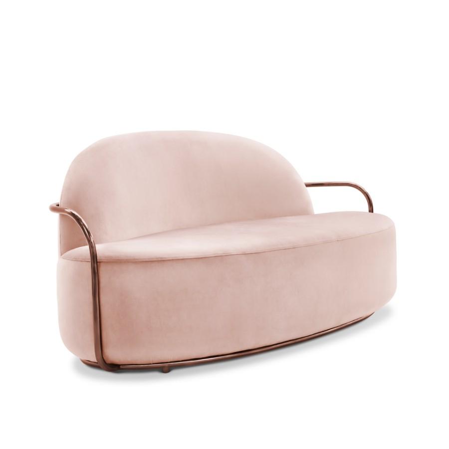 Minimalistyczna sofa Orion Scarlet Splendour różowo-miedziany