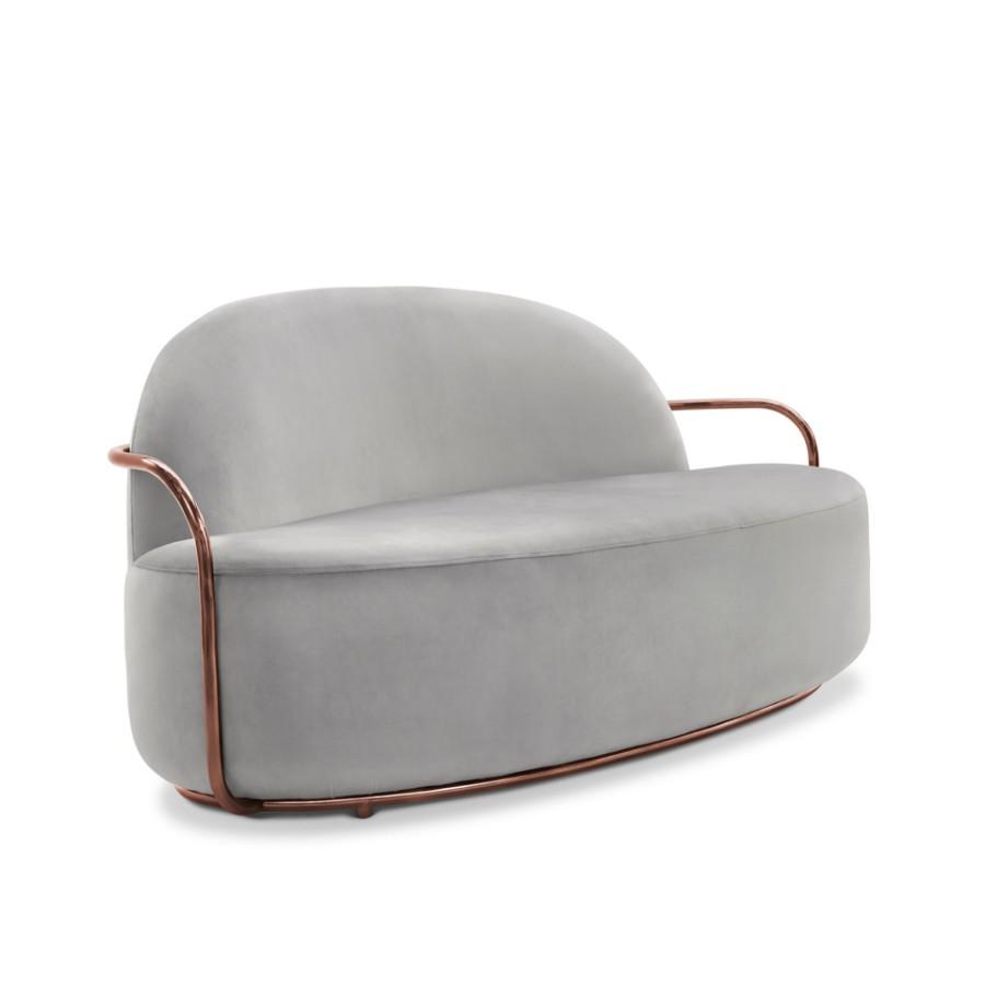 Minimalistyczna sofa Orion Scarlet Splendour szaro-miedziany