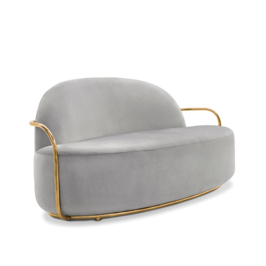 Minimalistyczna sofa Orion Scarlet Splendour szaro-złoty