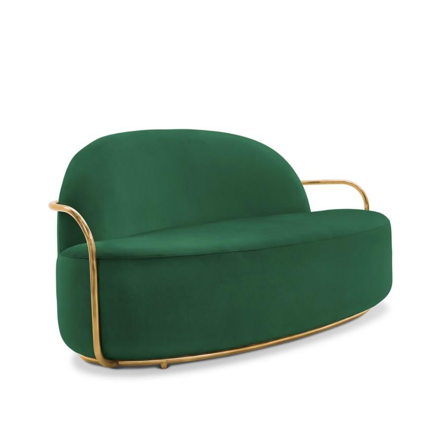 Minimalistyczna sofa Orion Scarlet Splendour zielono-złoty