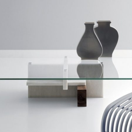 Nowoczesny stół i stolik kawowy z marmurem Tangram Kreoo