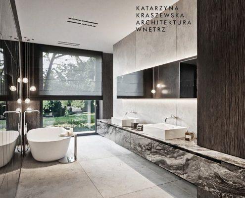 Projekt pokoju kąpielowego w ciemnym drewnie i kamieniu