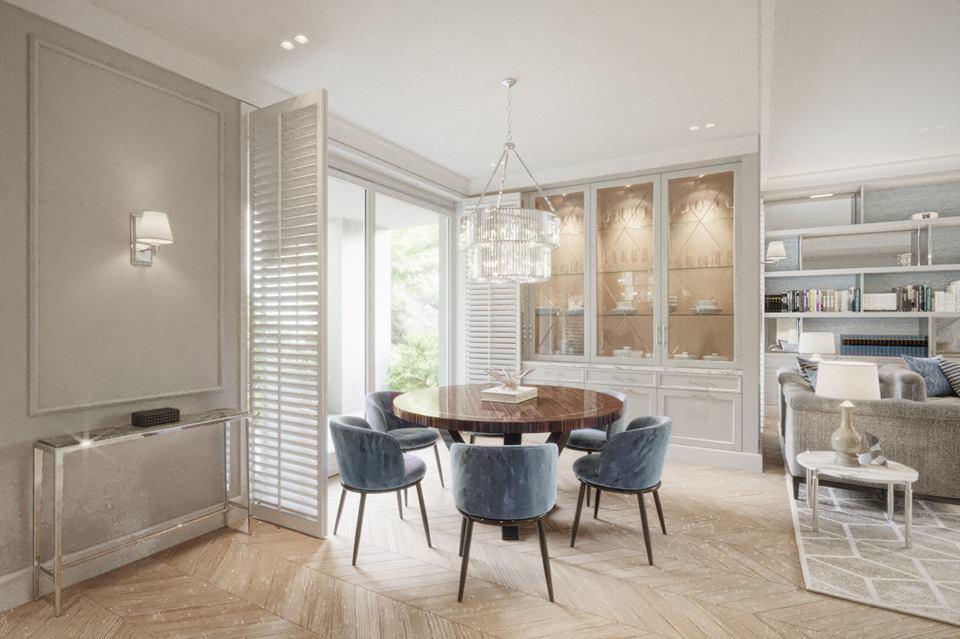 Salon z małą jadalnią w stylu modern classic