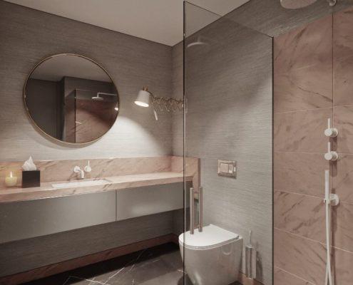 Stylowa łazienka w szarości i delikatnym różu