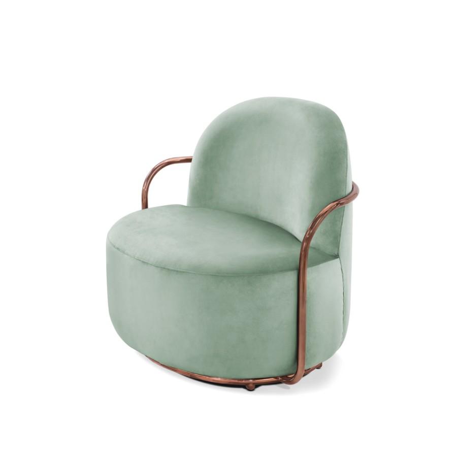 Stylowy fotel Orion Scarlet Splendour miętowo-miedziany