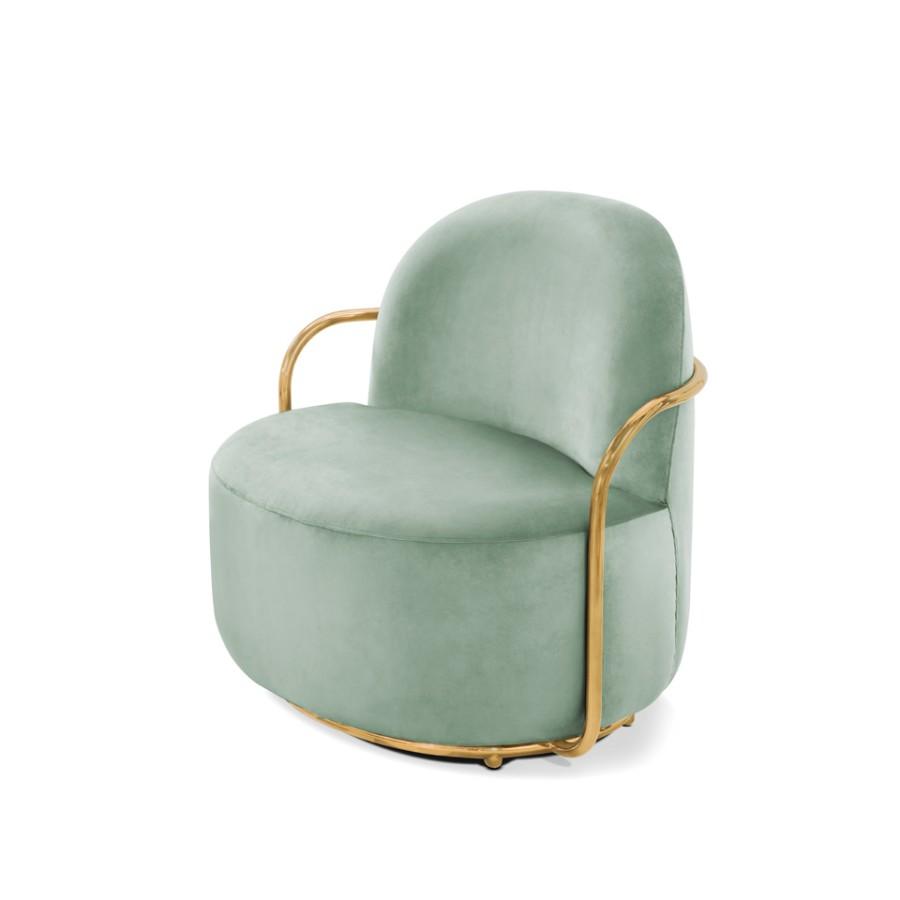 Stylowy fotel Orion Scarlet Splendour miętowo-złoty
