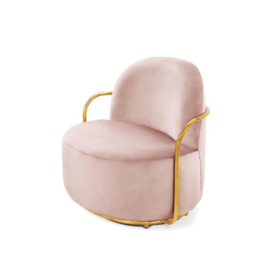 Stylowy fotel Orion Scarlet Splendour różowo-złoty