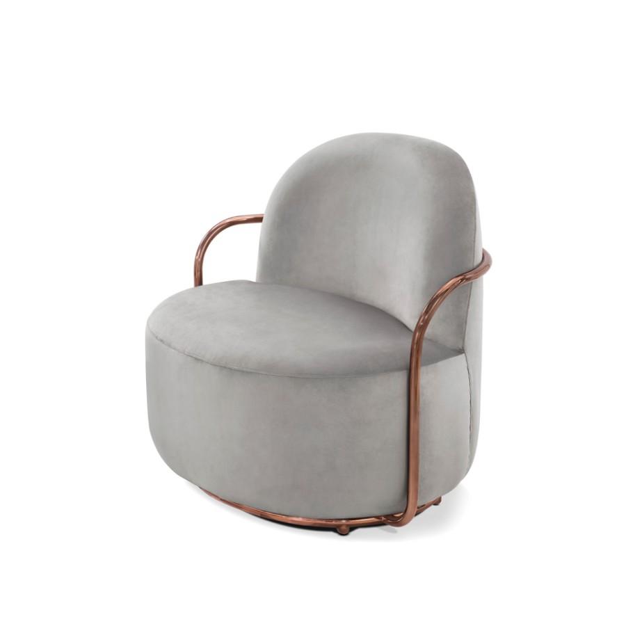 Stylowy fotel Orion Scarlet Splendour szaro-miedziany