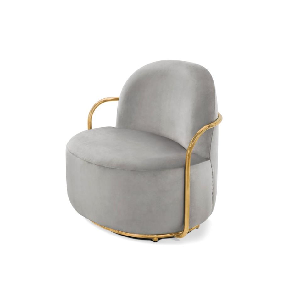 Stylowy fotel Orion Scarlet Splendour szaro-złoty