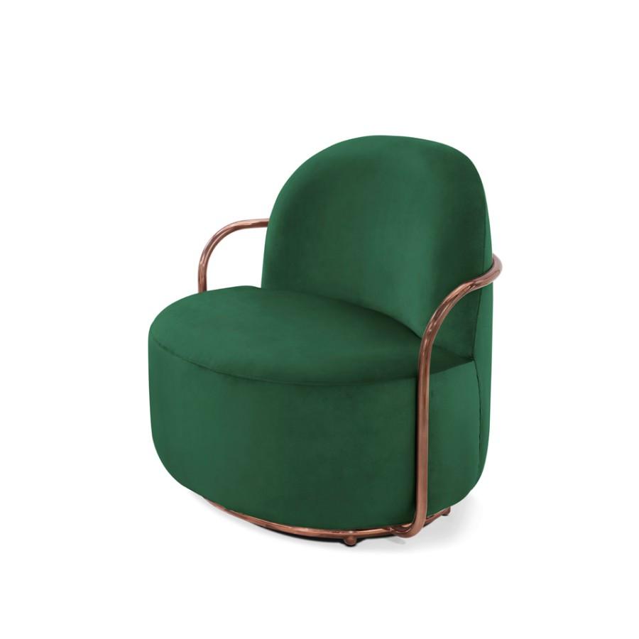 Stylowy fotel Orion Scarlet Splendour zielono-miedziany