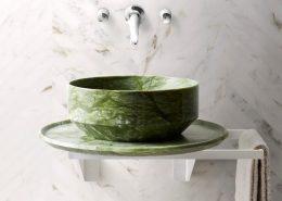 Umywalka łazienkowa z zielonego marmuru