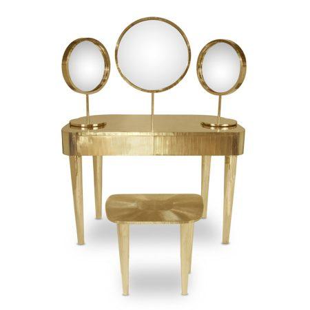 Złote lusterko stojące do toaletki Bijou Oro Scarlet Splendour