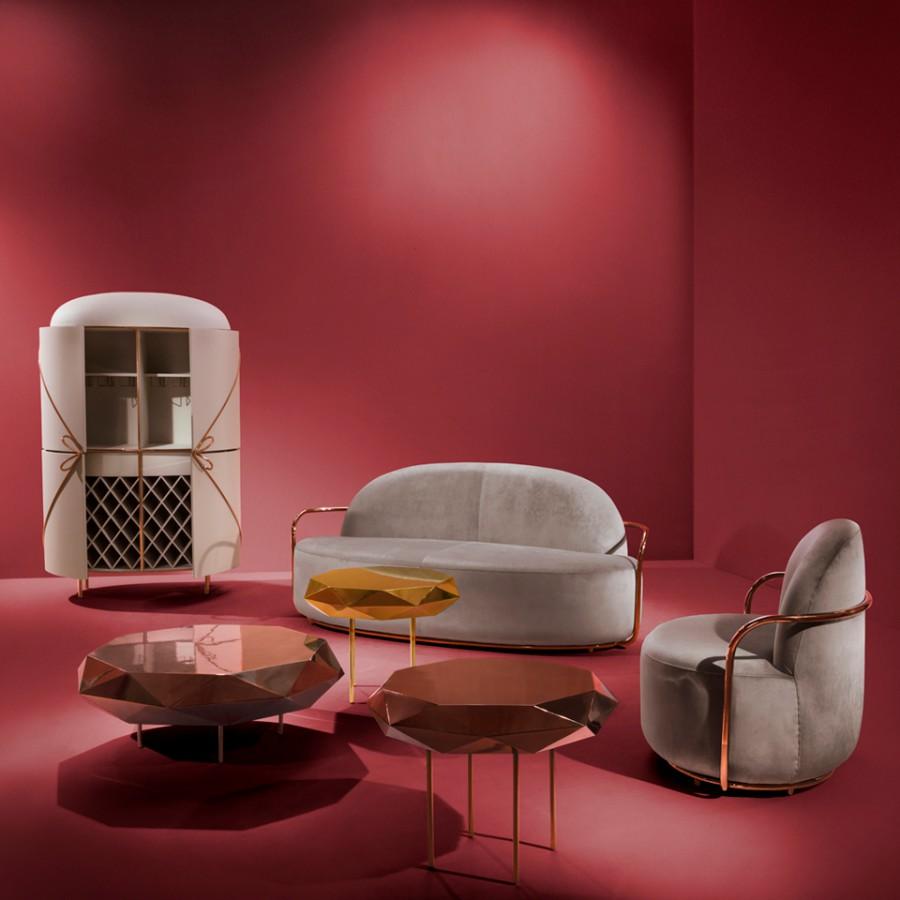 Złoty i miedziany stolik kawowy Stella duży Scarlet Splendour