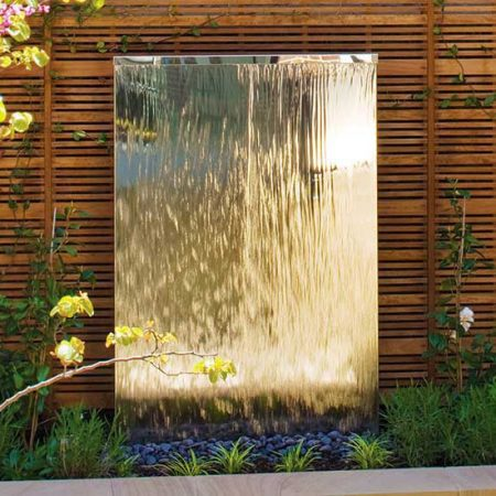 Ogrodowa ściana wodna ze stali nierdzewnej David Harber