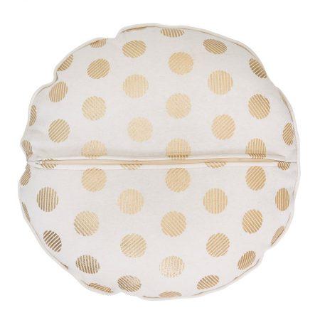 Okrągła, biało-złota poduszka dekoracyjna