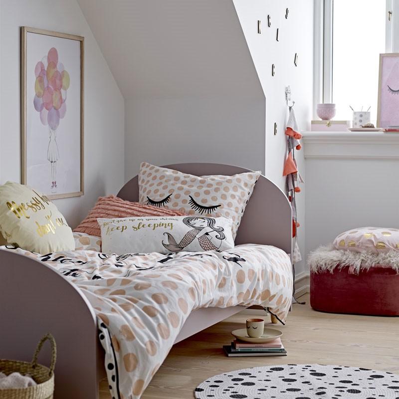 Okrągła, różowo-złota poduszka dekoracyjna