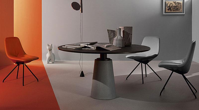 Stół okrągły na jednej nodze MESA DUE Poltrona Frau