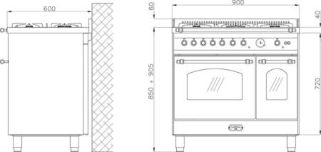 ZESTAW Wolnostojąca kuchnia 5-palnikowa 2-el. piekarniki DOLCEVITA 90 NERO MATT RNMD96MFTECIZ Lofra