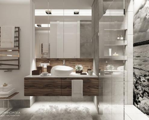 Łazienka w bieli i szarości przełamana ciemnym drewnem