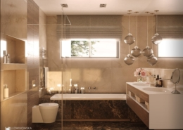 Łazienka z wanną wykończona kamieniem