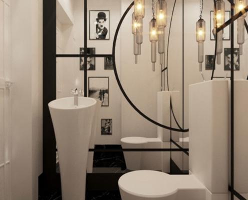 Aranżacja biało-czarnej toalety