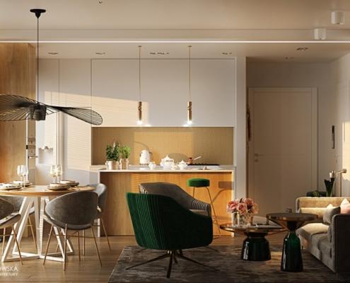 Aranżacja małego apartamentu w bieli i drewnie