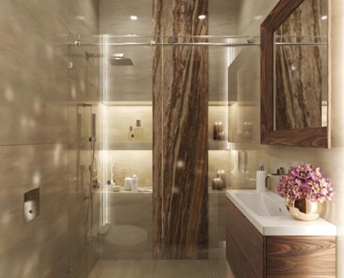 Beżowa łazienka w kamieniu i drewnie