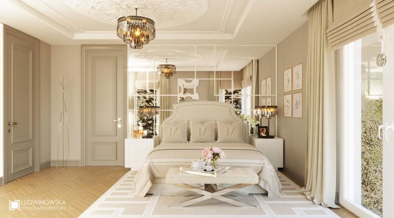 Beżowa sypialnia w stylu Art deco