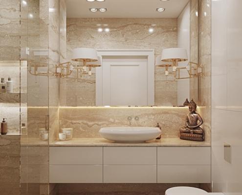 Beżowy marmur w łazience