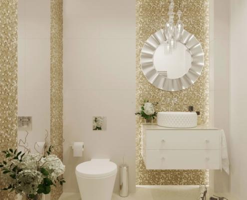 Biała łazienka ze złotą mozaiką