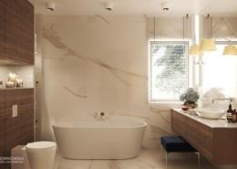 Biały kamień i ciemne drewno w łazience