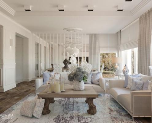 Biały salon połączony z jadalnią i eklektycznymi akcentami