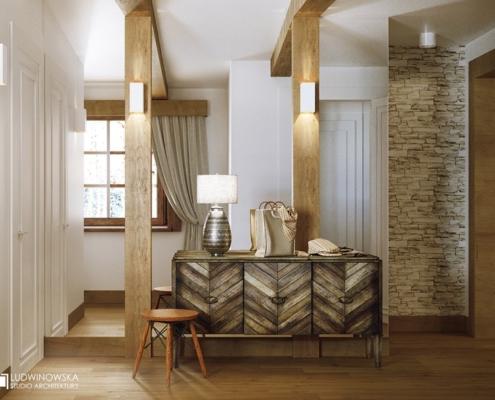 Biel i drewno w eklektycznym przedpokoju