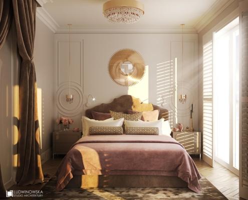 Biel, złoto i róż w kobiecej sypialni