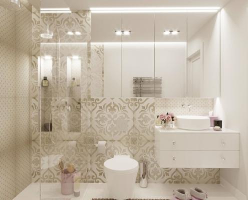 Bogato zdobione płytki w jasnej łazience