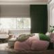 Ciemna zieleń w eklektycznej sypialni
