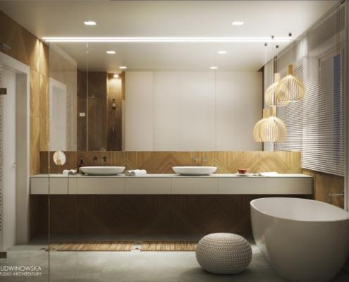Dekoracyjne panele z drewna w nowoczesnej łazience