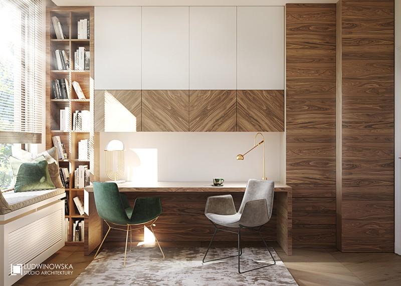 Domowy gabinet w bieli i drewnie
