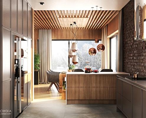 Drewno i cegła w kuchni połączonej z jadalnią