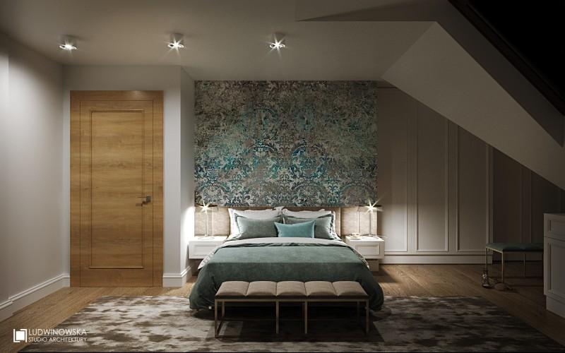 Elegancka sypialnia na poddaszu