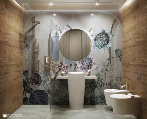 Kwiecista ściana w łazience z prysznicem
