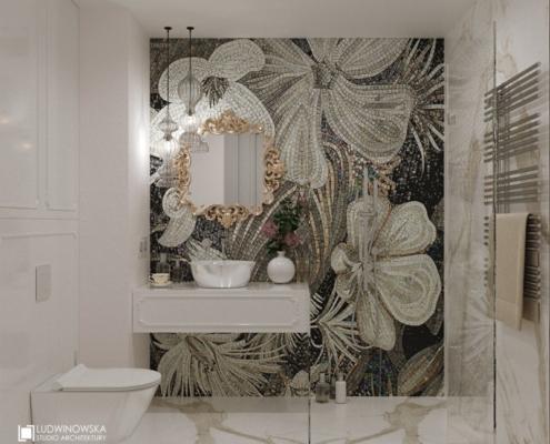 Kwiecista mozaika w białej łazience