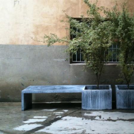 Metalowa ławka ogrodowa Cynk
