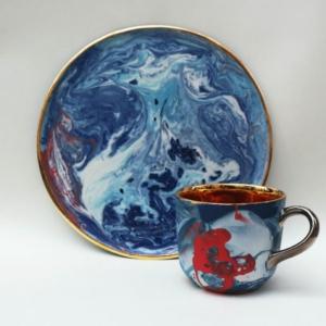 Niebieski talerz śniadaniowy Grafik