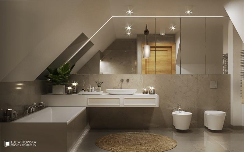 Nowoczesna łazienka na poddaszu w bieli i szarości