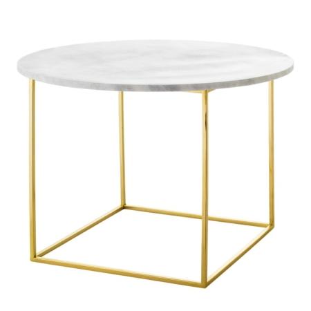 Okrągły stolik kawowy biały marmur złoto Eva
