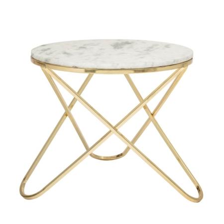 Okrągły stolik kawowy biały marmur złoto Nuevo