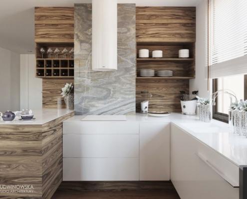 Otwarta kuchnia w drewnie