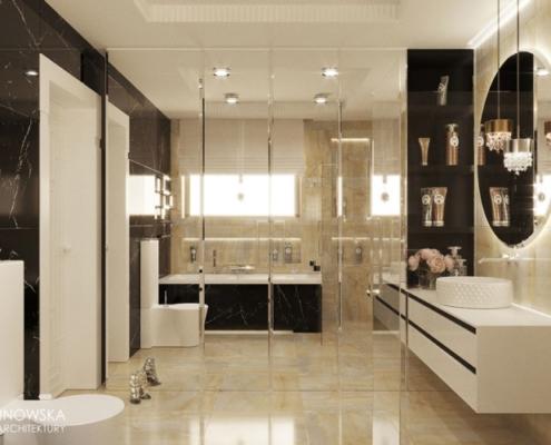 Pokój kąpielowy wykończony kamieniem